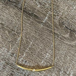 Herco 18K Yellow Gold Diamond Curved Bar Necklace